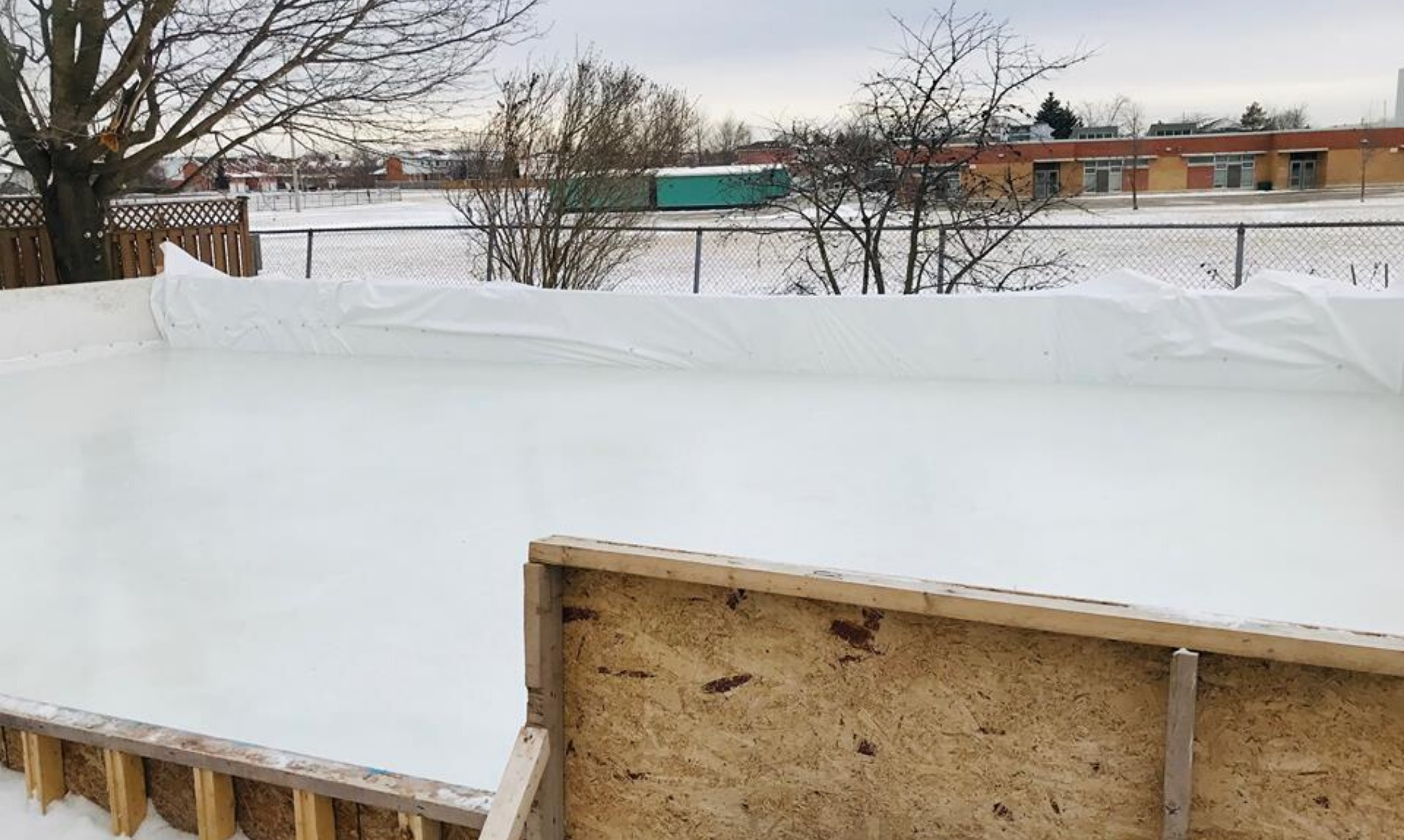 Backyard ice rink for staying healthy in winter