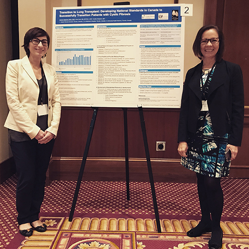 Joanna Valsamis, Chief Healthcare, Research & Advocacy Officer, CF Canada, and Dr. Cecilia Chaparro, transplant physician at University Health Network – Toronto General Hospital presenting at the Vertex Circle of Care Colloquium at the 2017 North American CF Conference. Kate Gent (not pictured), nurse co-ordinator at St. Michael`s Hospital, Toronto, is also a collaborator on the grant.